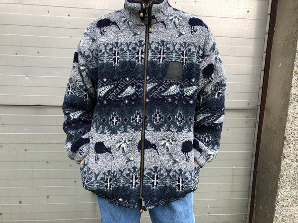 Vintage Unisex Oversized New Zealand Emu Patterned Fleece Jacket