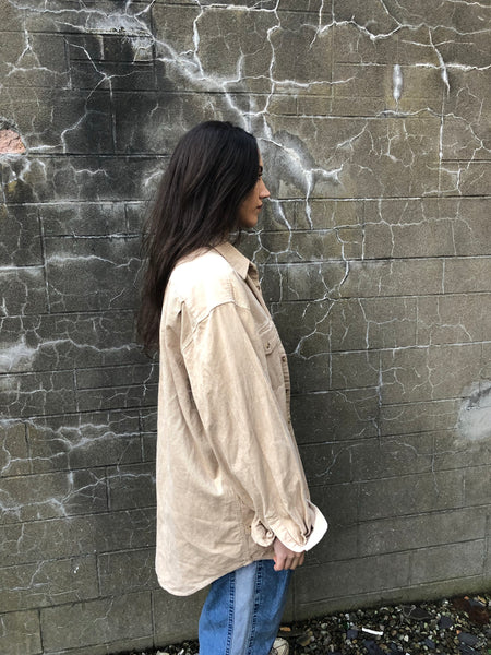 Vintage 90s Cord / Corduroy Unisex Ribbed Thick Oversized Shirt Beige