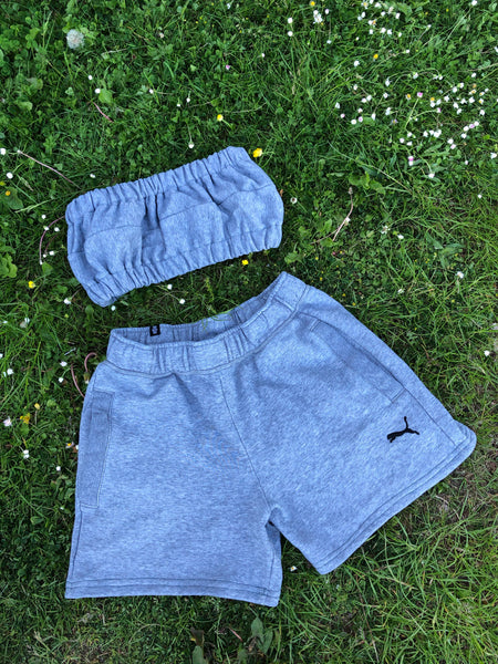 Vintage Reworked Puma Tracksuit Tube Top & Shorts Two Piece Set / Co-Ord Grey