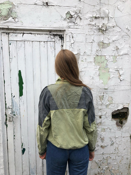 Vintage Soft Denim Feel Embroidered Unisex Top / Sweatshirt / Jumper / Sweater / Shirt Green