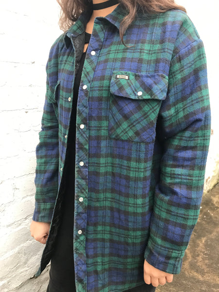 Unisex Vintage Thick Checked Oversized 90's Flannel Shirt Green Jacket