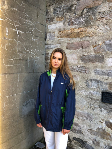 Vintage Nike Oversized Unisex Windbreaker Shell Track Jacket Green & Navy