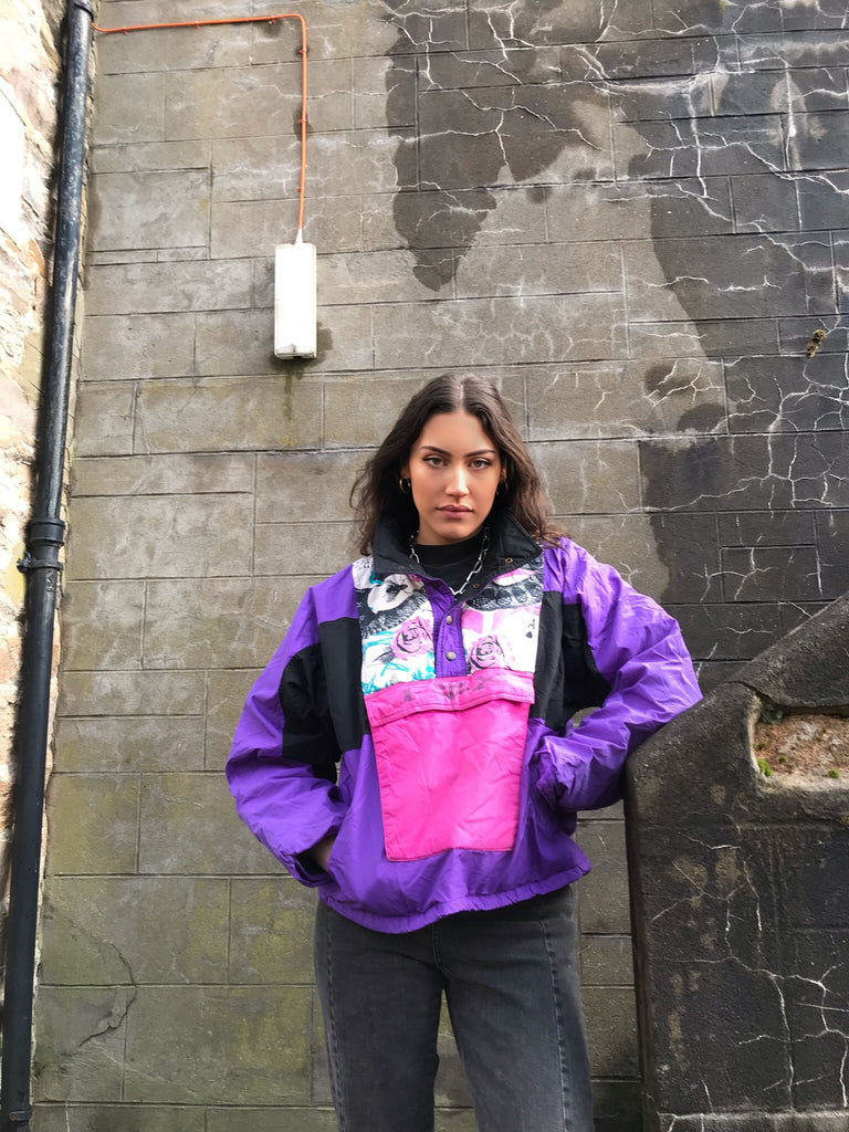 Vintage Fox Image 1/4 Button Up Colourful Retro Padded Shell Jacket Windbreaker Pink & Purple