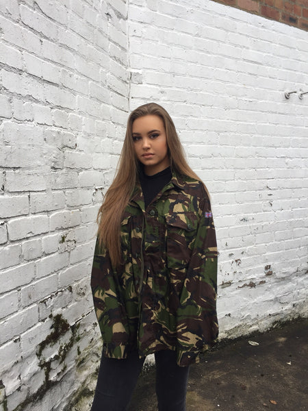 Vintage Oversized Unisex Army Camo Jacket Dark Green