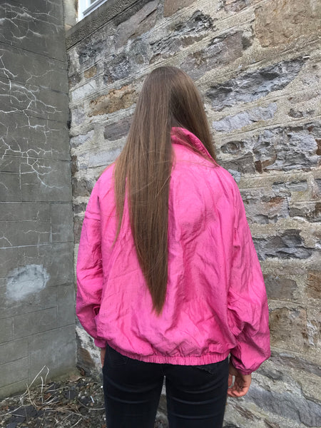 Vintage 90s Oversized Windbreaker Shell Jacket Pink