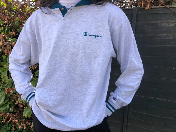 Vintage Champion Unisex Oversized Hoodie / Long Sleeve Hooded T Shirt Grey