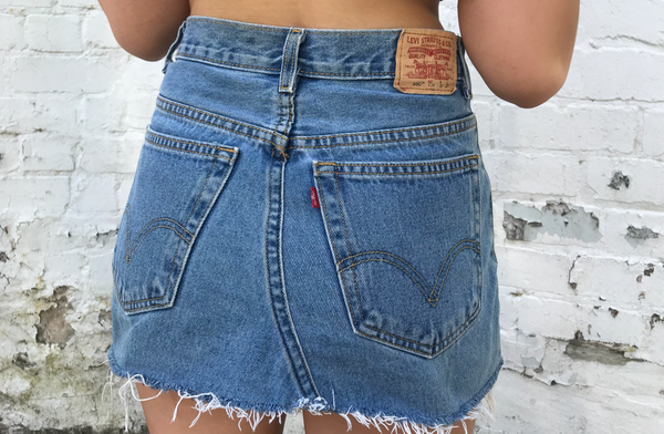 Vintage Levi's 550 Denim Mini Skirt Blue