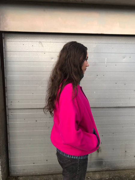 Vintage Reversible Unisex Hot Pink / Checked Fleece Jacket
