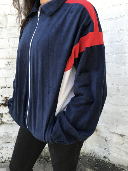 Vintage Unisex Retro Oversized Windbreaker Bomber Shell Jacket Red & Blue