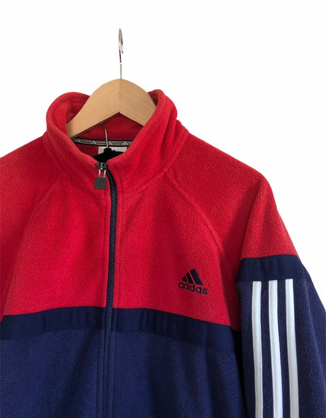 Vintage Adidas 3 Stripes Oversized Full Zip Fleece Jacket Red & Navy