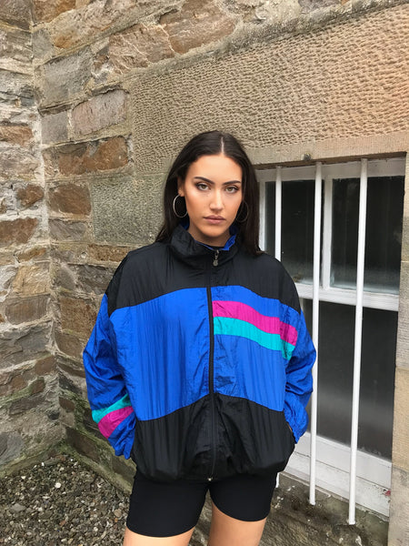 Vintage Unisex Oversized Windbreaker Wavy Festival Shell Jacket Blue Pink & Black