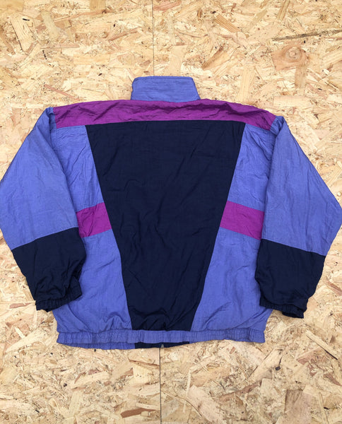 Vintage Unisex Retro Oversized Windbreaker Festival Shell Jacket Purple