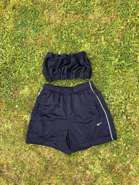 Vintage Reworked Nike Tracksuit Tube Top & Shorts Two Piece Set Navy