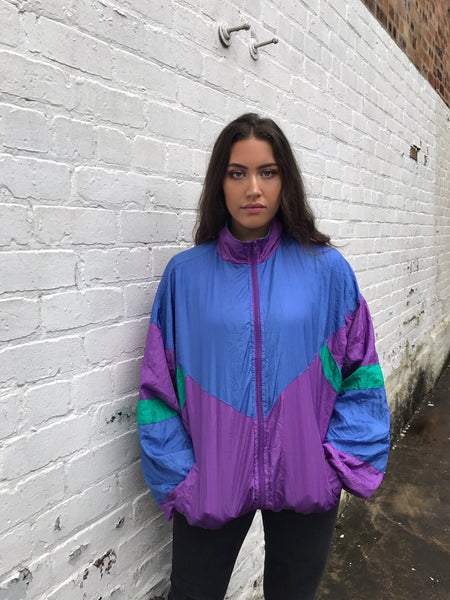 Vintage Colourful Unisex Retro Oversized Windbreaker Shell Jacket Multi Coloured