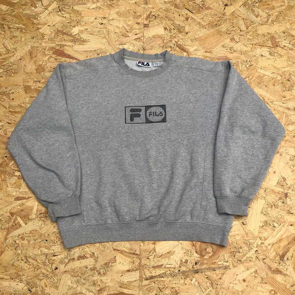 Vintage Fila Unisex Sweatshirt / Jumper / Sweater Grey