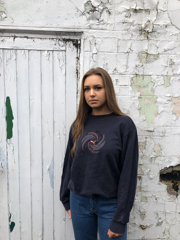 Vintage Puma Embroidered Unisex Jumper / Sweatshirt Navy