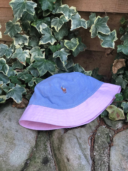 Vintage Reworked Ralph Lauren Recycled Shirt Bucket Hat - Blue & Pink