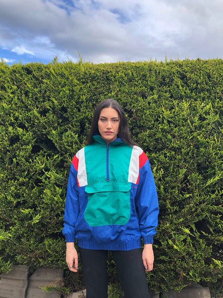 Vintage Oversized Unisex Colourful Windbreaker Pullover 1-4 Zip Shell Suit Jacket / Jumper
