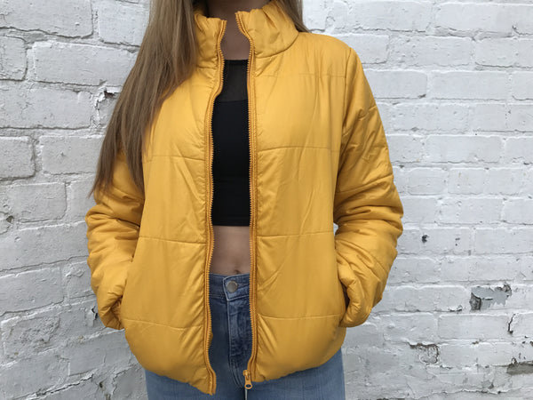 Vintage Unisex Yellow Puffer Jacket Gold