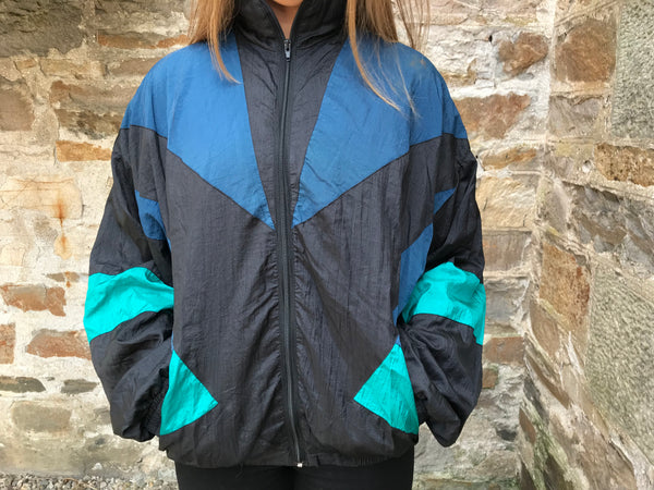 Vintage Unisex Oversized Windbreaker Festival Colourful Wavy Bomber Shell Jacket Black & Blue