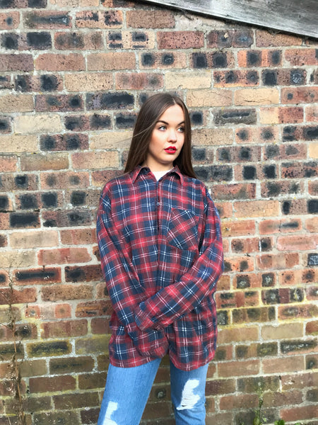 Unisex Vintage Checked Oversized 90's Flannel Shirt