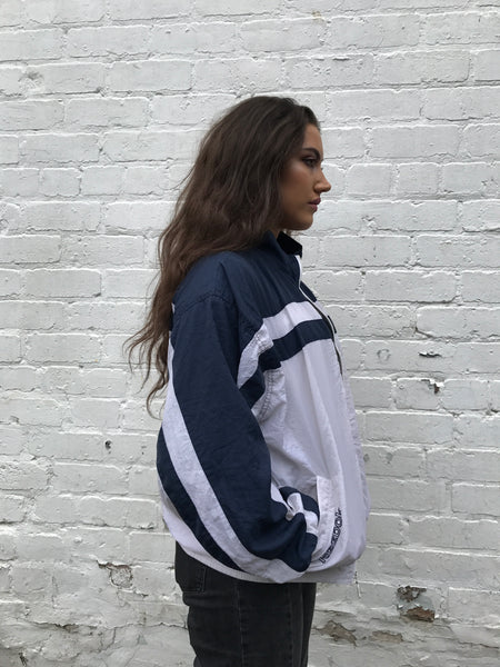 Vintage Reebok Oversized Unisex Windbreaker Shell Jacket Blue & White
