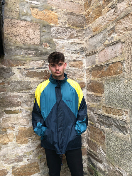Vintage Windbreaker Unisex Oversized Festival Colourful Shell Jacket Rain Coat