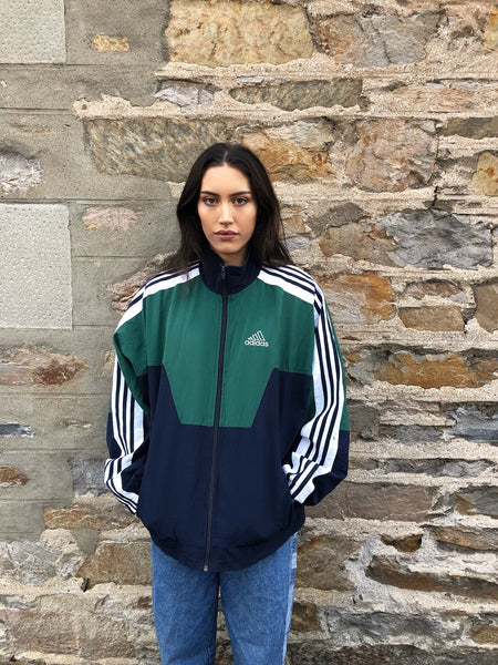 Adidas Originals 3-Stripes Vintage Unisex Bomber / Track / Shell Jacket / Tracksuit Top Navy & Green