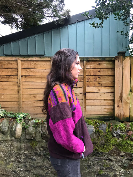 Vintage Unisex Colourful Fleece Jacket Pink & Brown