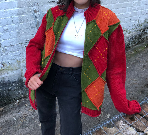Vintage 90s Argyle Patchwork Knitted Cardigan Colourful Zip Fleece Jacket