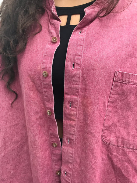 Vintage Unisex Oversized Soft Denim Shirt in Raspberry