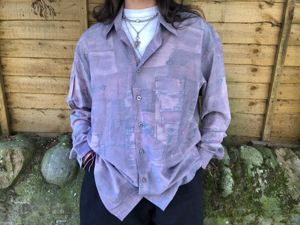 Vintage Oversized Baggy Long Sleeve Jazzy Patterned Shirt Purple