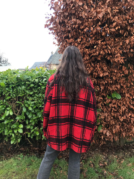 Vintage Checked Unisex Oversized Tartan Jacket / Coat Red