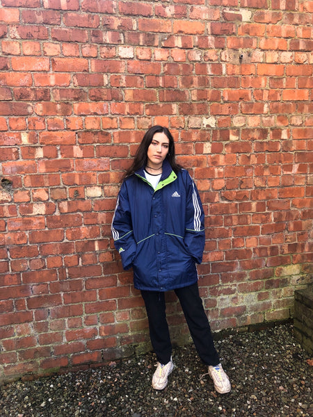 Vintage Adidas Originals 3 Stripes Unisex Oversized Padded Puffer Jacket Blue & Lime Green