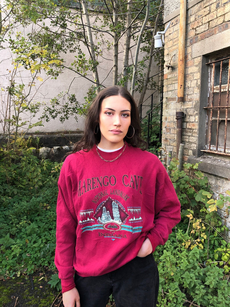 Vintage Unisex Graphic Print USA Sweatshirt / Jumper / Sweater Red