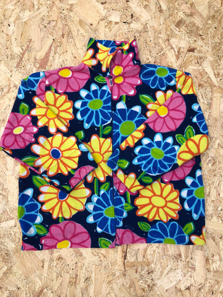Vintage Unisex Crazy Print Oversized Funky Patterned Colourful Fleece Jacket Flower Print