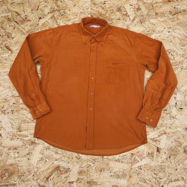 Vintage 90s Cord / Corduroy Unisex Ribbed Oversized Shirt Orange
