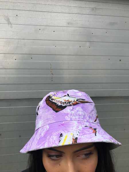 Love Route Unisex Purple Hawaiian Patterned Bucket Hat