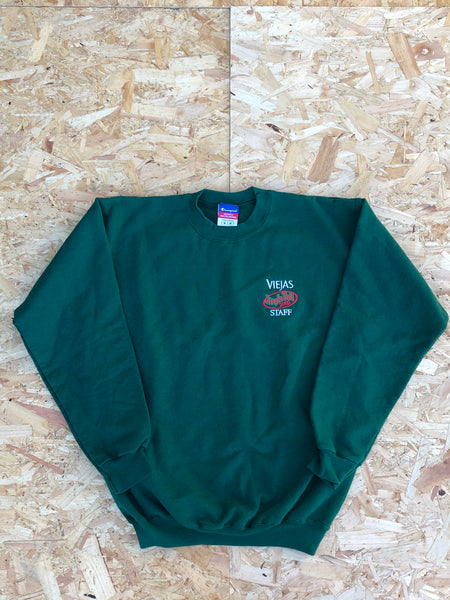 Vintage Champion Christmas Unisex Graphic Print Sweatshirt / Jumper / Sweater Green