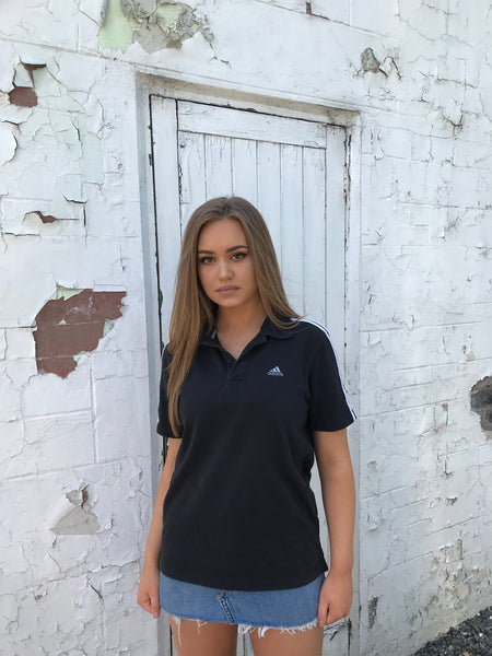 Adidas 3-Stripes Vintage Unisex Polo Shirt Black