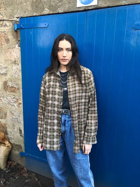 Vintage Checked Plaid Oversized 90's Flannel Shirt