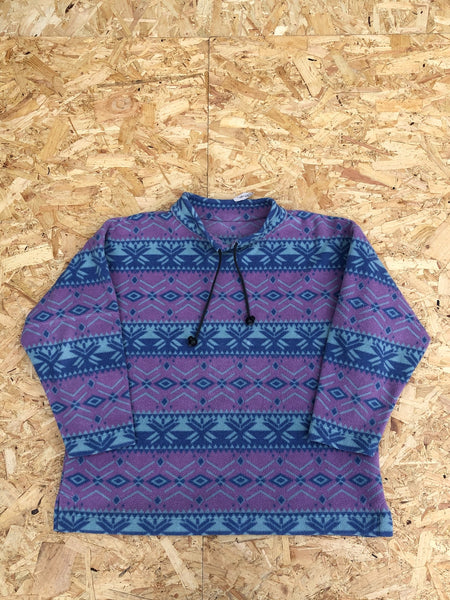 Vintage Patterned Unisex Oversized Fleece Jumper Pullover Purple