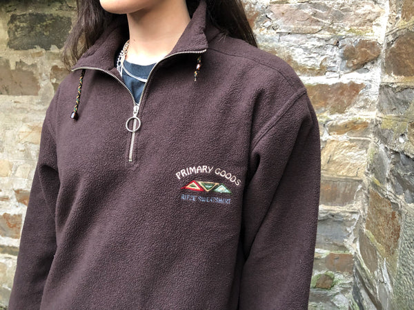 Vintage Unisex 1/4 Zip / Quarter Zip Fleece Jumper Pullover Brown