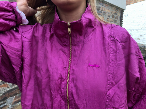 Vintage Unisex Retro Oversized Windbreaker Festival Bomber Jacket / Shell Jacket Pink/Purple