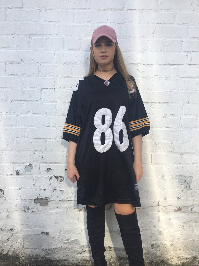 Vintage Reebok NFL Oversized American Football Jersey T shirt Black & Yellow