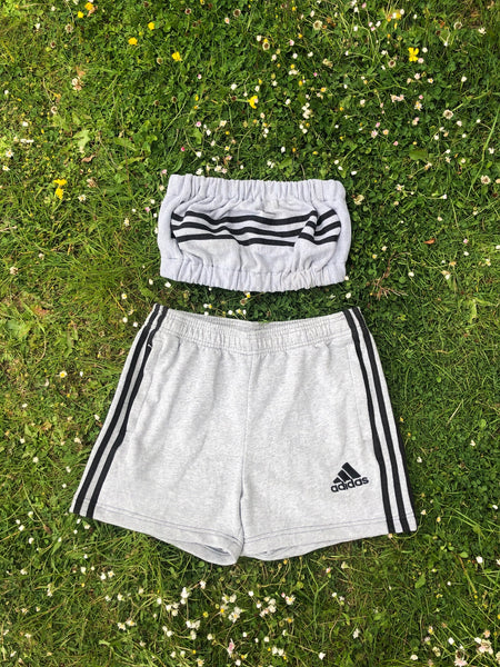 Vintage Reworked Adidas 3 Stripes Tracksuit Tube Top & Shorts Two Piece Set / Co-Ord Grey & Black