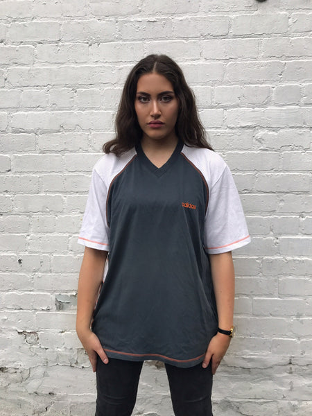Vintage Adidas Jersey Oversized V Neck T Shirt Grey & White