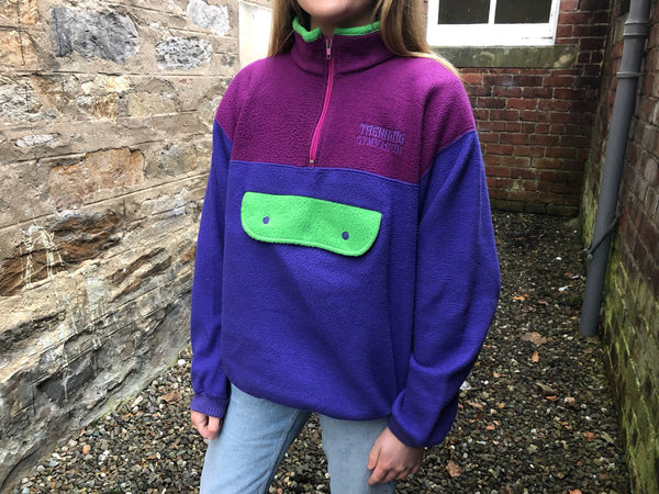 Vintage Unisex Colour Block Oversized Funky Patterned 1/4 Zip Fleece Jumper / Sweatshirt