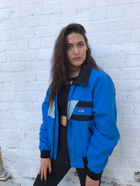 Vintage 80's Unisex CB Sports Windbreaker Shell Bomber Jacket Blue & Black