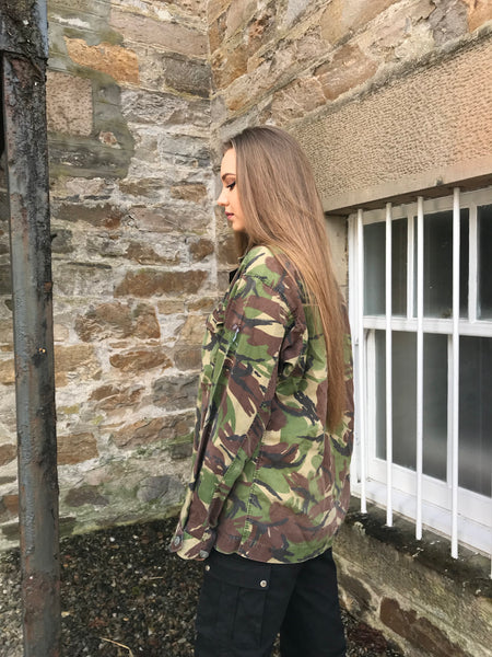 Vintage Oversized Unisex Army Camo Thin Jacket/Shirt Green